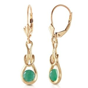 14K. GOLD LEVER BACK EARRINGS WITH NATURAL EMERALD